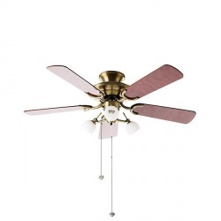 Fantasia Mayfair 42 inch Pull Cord Antique Brass Ceiling Fan with Dark Oak Blades and Florence Light Kit