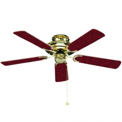 Fantasia Mayfair 42 inch Pull Cord Polished Brass Ceiling Fan with Reversible Gloss Mahogany/Gloss Oak and Cane Blades
