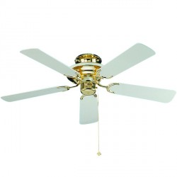 Fantasia Mayfair 42 inch Pull Cord Polished Brass and White Ceiling Fan with White Blades