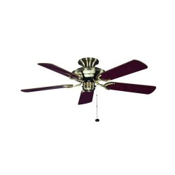 Fantasia Mayfair 42 inch Pull Cord Antique Brass Ceiling Fan with Reversible Gloss Oak and Cane/Gloss Mahogany Blades