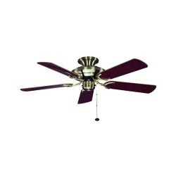 Fantasia Mayfair 42 inch Pull Cord Antique Brass Ceiling Fan with Dark Oak Blades