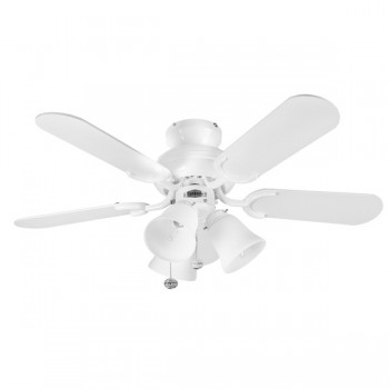 Fantasia Capri 36 inch Pull Cord Gloss White Ceiling Fan with Matt White Blades and Belmont Light Kit