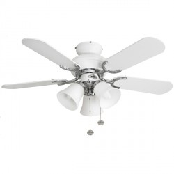 Fantasia Capri 36 inch Pull Cord White and Stainless Steel Ceiling Fan with Matt White Blades and Belmont Light Kit