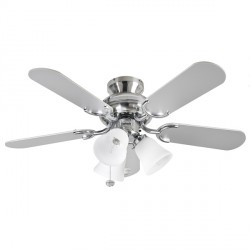 Fantasia Capri 36 inch Pull Cord Stainless Steel Ceiling Fan with Reversible Washed Oak/Matt Silver Blades and Belmont Light Kit