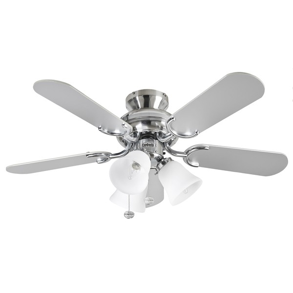 Fantasia Capri 36 Inch Pull Cord Stainless Steel Ceiling Fan With Reversible Washed Oak Matt Silver Blades And Belmont Light Kit