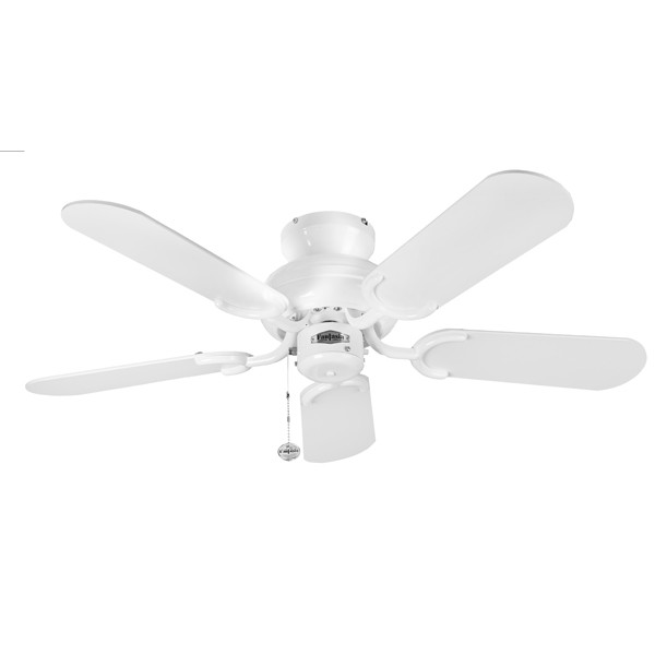 Ceiling Fans With Electrical Cords : Fantasia capri inch pull cord gloss white ceiling fan