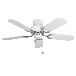 Fantasia Capri 36 inch Pull Cord White and Stainless Steel Ceiling Fan with Matt White Blades