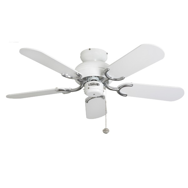 Ceiling Fans With Electrical Cords : Fantasia capri inch pull cord white and stainless steel