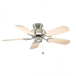Fantasia Capri 36 inch Pull Cord Stainless Steel Ceiling Fan with Reversible Washed Oak/Matt Silver Blades