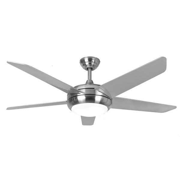 Fantasia Eurofans Neptune 52 Inch Remote Control Stainless Steel Ceiling Fan With Matt Silver Blades And Light