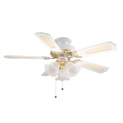 Fantasia EuroFans Belaire 42 inch Pull Cord White and Brass Ceiling Fan with Reversible Matt White and Cane/Matt White Blades and 3 Light Cluster