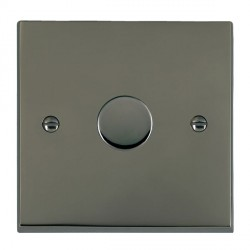 Hamilton Cheriton Victorian Black Nickel Push On/Off Dimmer 1 Gang 2 way Inductive 300VA with Black Nickel Insert