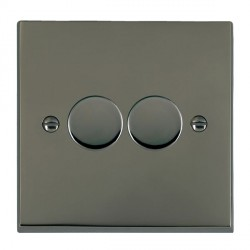 Hamilton Cheriton Victorian Black Nickel Push On/Off Dimmer 2 Gang 2 way Inductive 200VA with Black Nickel Insert