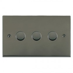 Hamilton Cheriton Victorian Black Nickel Push On/Off Dimmer 3 Gang Multi-way 250W/VA Trailing Edge with Black Nickel Insert