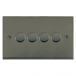 Hamilton Cheriton Victorian Black Nickel Push On/Off Dimmer 4 Gang Multi-way 250W/VA Trailing Edge with Black Nickel Insert