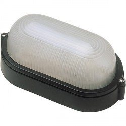 Click Ovia OL400BK 230V IP54 Black Oval Bulkhead Light-Plain
