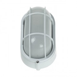 Ovia Barra Oval White E27 Bulkhead with Guard