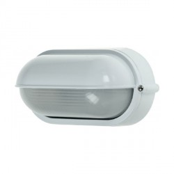 Click Ovia OL420WH 230V IP54 White Oval Bulkhead Light with Eyelid