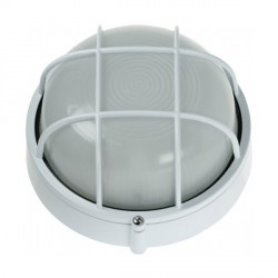 Ovia Barra Round White E27 Bulkhead with Guard