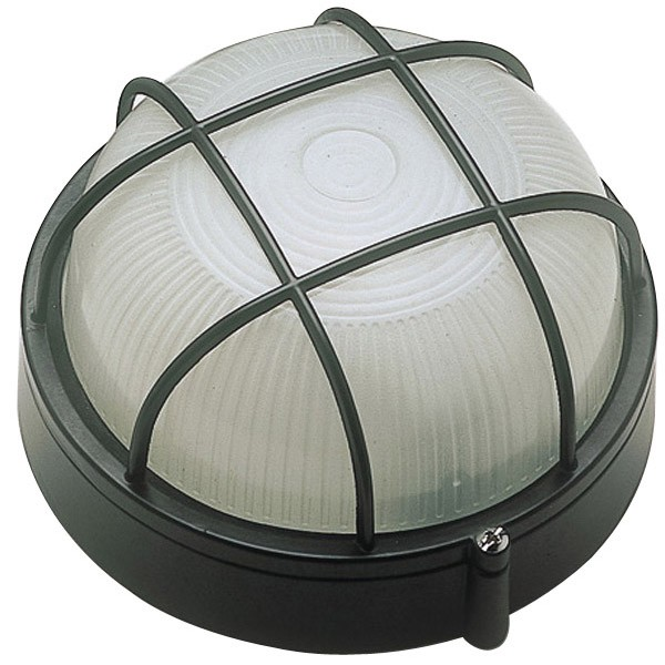Click Ovia Ol415bk 230v Ip54 Black Round Bulkhead Light With Guard