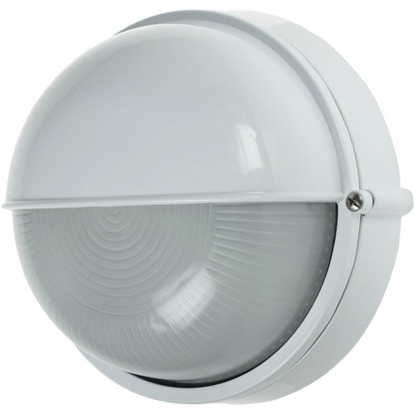 Click Ovia Ol425wh 230v Ip54 White Round Bulkhead Light With Eyelid