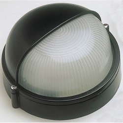 Ovia Barra Round Black E27 Bulkhead with Eyelid