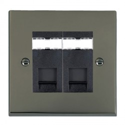 Hamilton Cheriton Victorian Black Nickel 2 Gang RJ12 Outlet Unshielded with Black Insert
