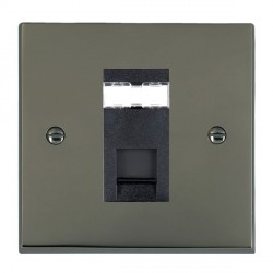 Hamilton Cheriton Victorian Black Nickel 1 Gang RJ45 Outlet Cat 5e Unshielded with Black Insert