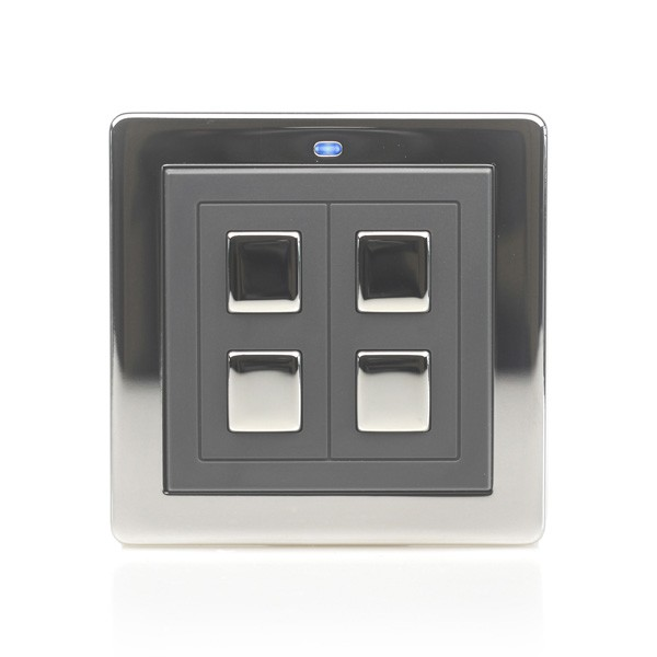 LightwaveRF Chrome 2 Gang Wirefree Switch at UK Electrical Supplies