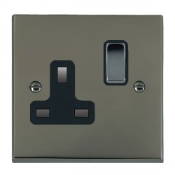 Hamilton Cheriton Victorian Black Nickel 1 Gang 13A Switched Socket - Double Pole with Black Insert