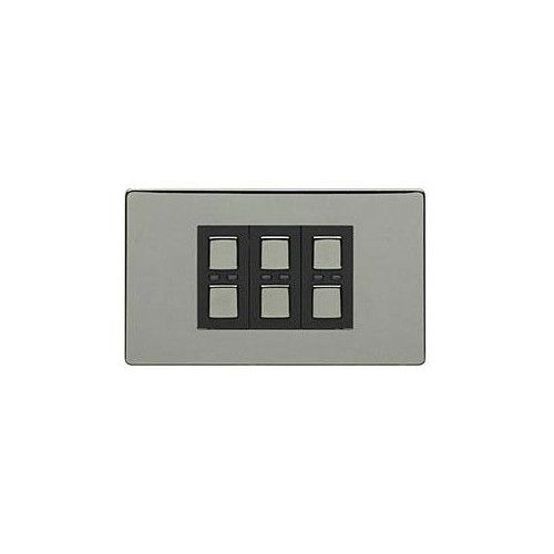 lightwaverf black chrome 3 gang 1 way dimmer 210w at uk electrical supplies. Black Bedroom Furniture Sets. Home Design Ideas