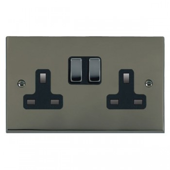 Hamilton Cheriton Victorian Black Nickel 2 Gang 13A Switched Socket - Double Pole with Black Insert