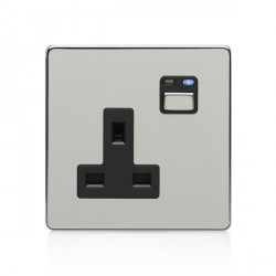 LightwaveRF Chrome 1 Gang 13A Socket