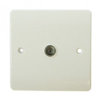 Click Mode Single White PVC Coaxial Socket
