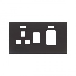 Click Definity SCP205BK 45A Switch with 13A Switched Socket and Neons Cover Plate in Black