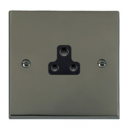 Hamilton Cheriton Victorian Black Nickel 1 Gang 2A Unswitched Socket with Black Insert