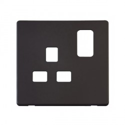 Click Definity SCP435BK UK 1 Gang 13A Switched Socket Outlet Cover Plate in Black