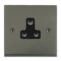 Hamilton Cheriton Victorian Black Nickel 1 Gang 5A Unswitched Socket with Black Insert