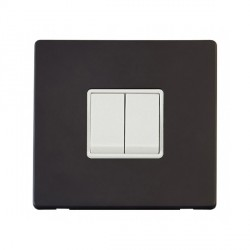 Click Definity Flat Plate Screwless 10AX 2 Gang 2 Way Polar White Switch with Black Cover Plate