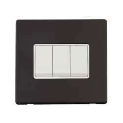 Click Definity Flat Plate Screwless 10AX 3 Gang 2 Way Polar White Switch with Black Cover Plate