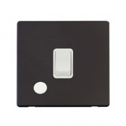 Click Definity Flat Plate Screwless 20A DP Polar White with Flex Outlet with Black Cover Plate