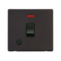 Click Definity Flat Plate Screwless 20A DP Black Switch with Flex Outlet and Neon with Black Cover Plate