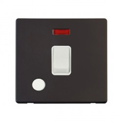 Click Definity Flat Plate Screwless 20A DP Polar White Switch with Flex Outlet and Neon with Black Cover Plate