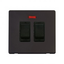 Click Definity Flat Plate Screwless 20A Black Sink and Bath Switch with Neon with Black Cover Plate