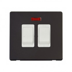Click Definity Flat Plate Screwless 20A Polar White Sink and Bath Switch with Neon with Black Cover Plate
