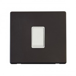Click Definity Flat Plate Screwless 10AX 1 Gang Intermediate Polar White Switch with Black Cover Plate