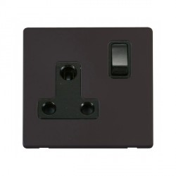 Click Definity Flat Plate Screwless 1 Gang 15A Round Pin Black Switched Socket with Black Cover Plate