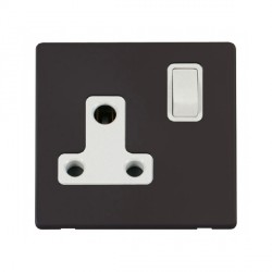 Click Definity Flat Plate Screwless 1 Gang 15A Round Pin Polar White Switched Socket with Black Cover Plate