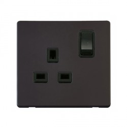 Click Definity Flat Plate Screwless 1 Gang UK 13A Black Switched Socket with Black Cover Plate
