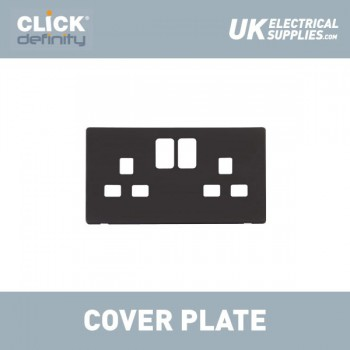 Click Definity Flat Plate Screwless 2 Gang UK 13A Black Switched Socket with Black Cover Plate